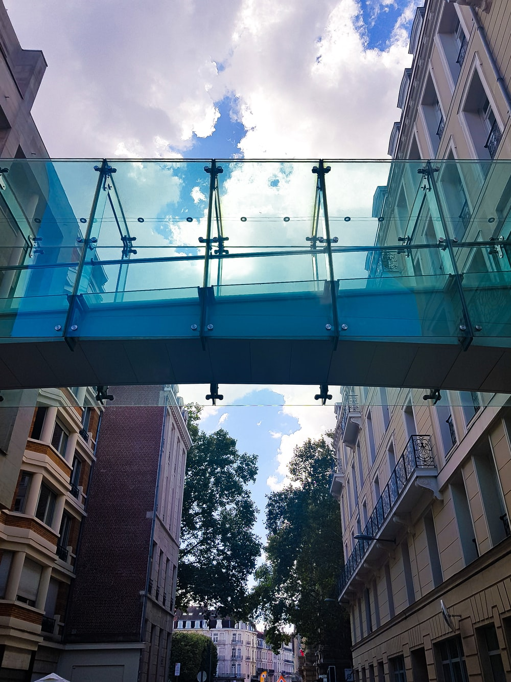 black bridge between buildings