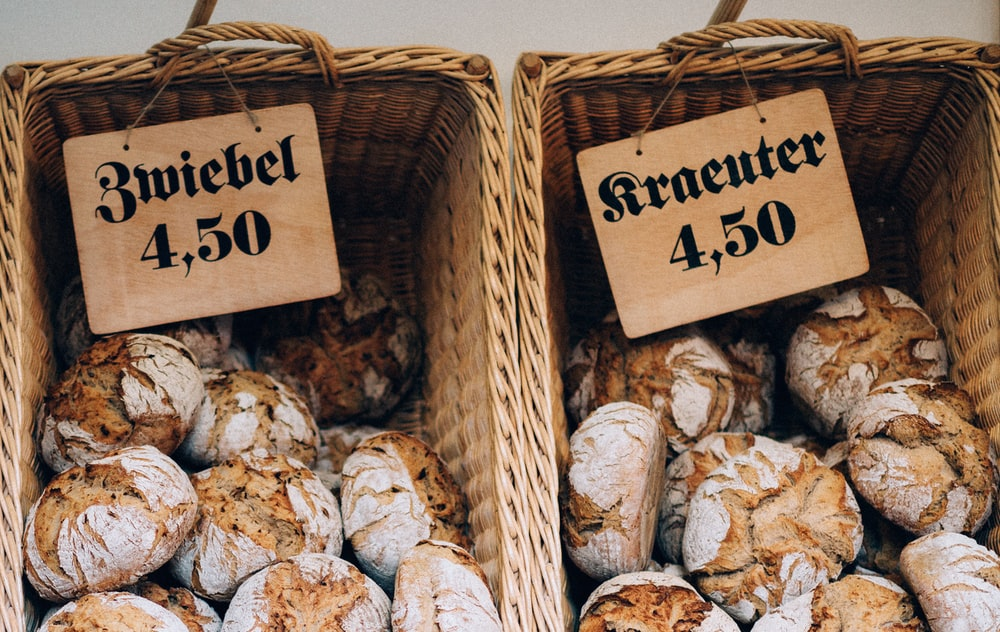 baked pastries on wicker baskets