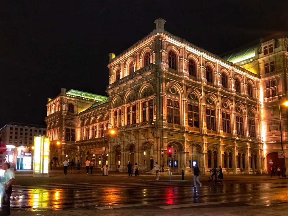 people walking on road near Vienna State Opera during night time