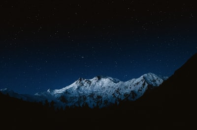 snow-capped mountain at night