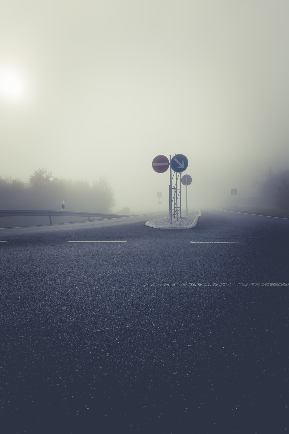 empty road covered with mist