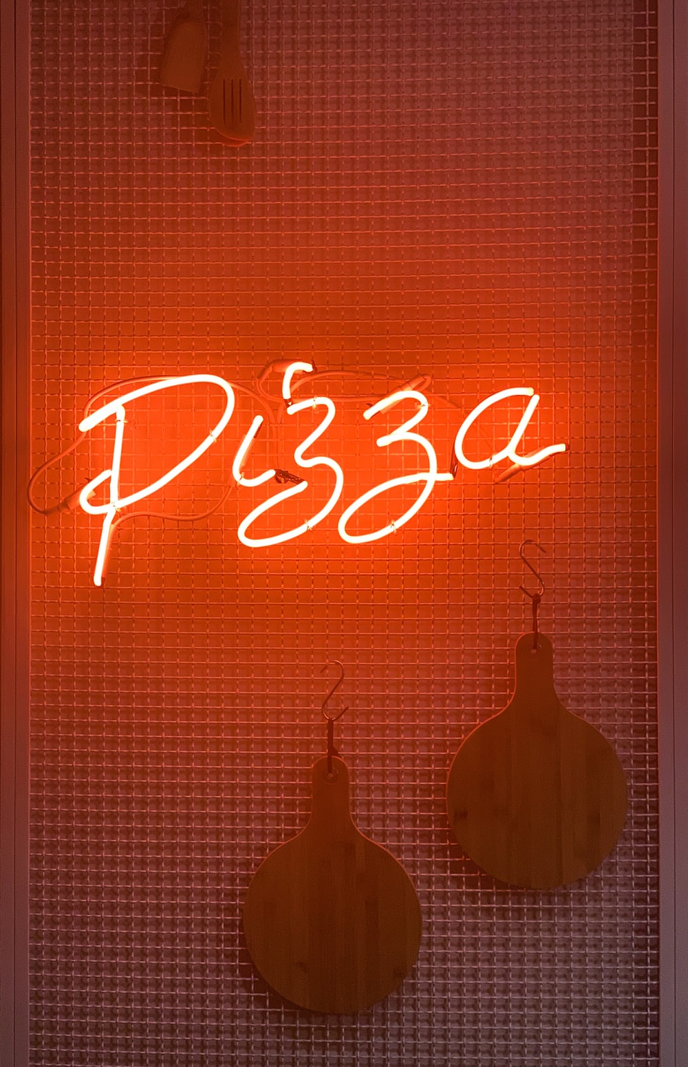 white and red pizza LED light