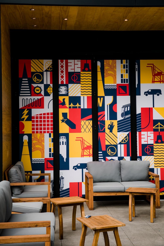 grey fabric sofa set