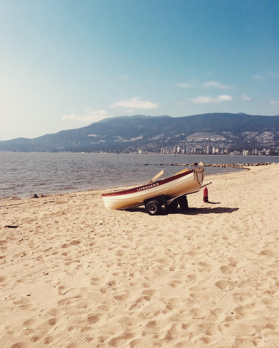 Lifeguard boat on beach