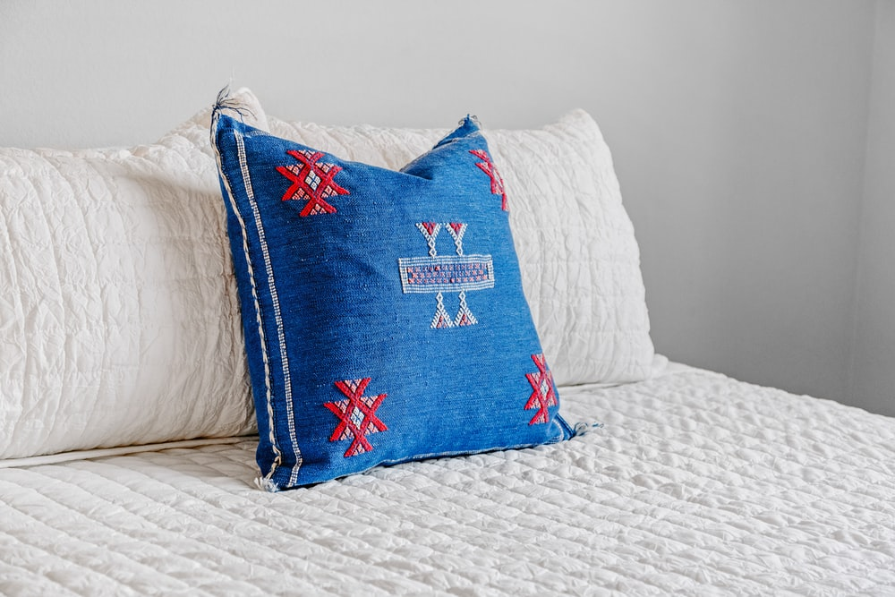 blue and red pillow