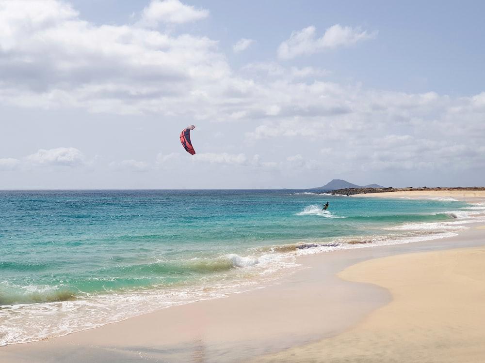 person surfing on seashore