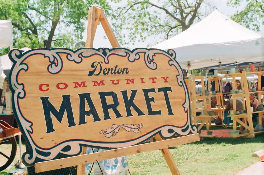 Denton community market sign