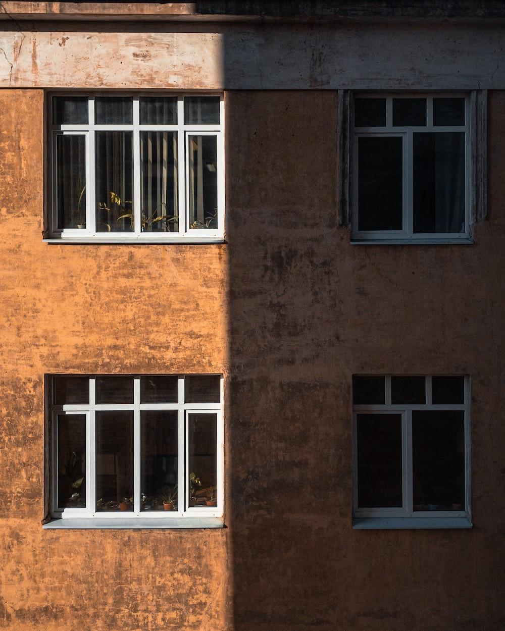 closed white wood-framed glass windows