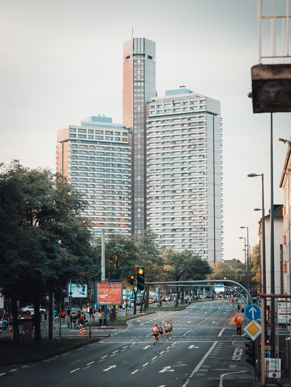 view photography of white high rise buildings