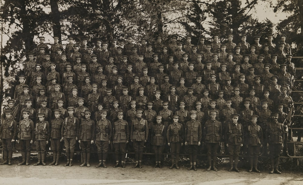 grayscale photography of army group picture