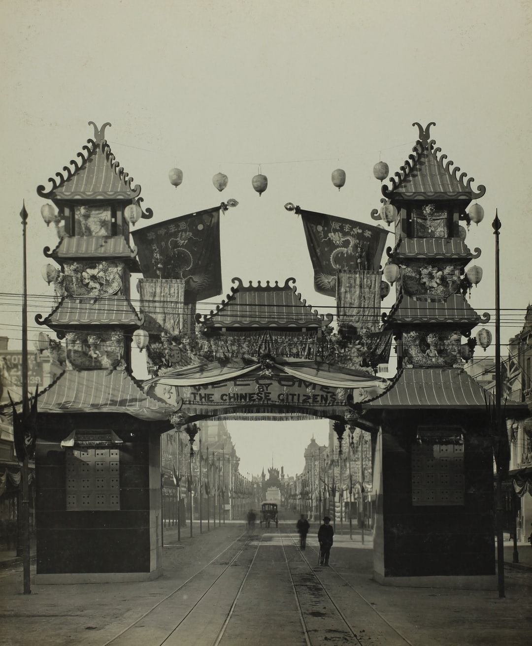 Federation Celebrations, 'The Chinese Citizens Arch, Swanston Street', Melbourne, May1901