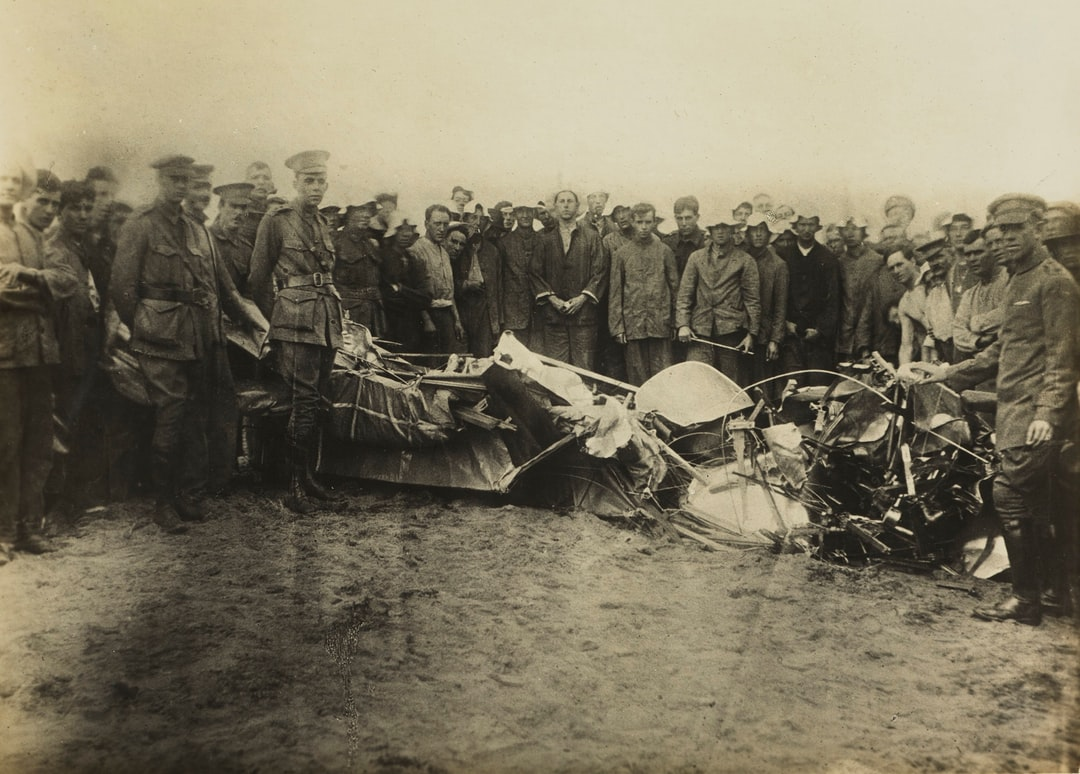 Inspecting the Wreckage From Basil Watson's Fatal Aircraft Accident, Point Cook, Victoria, 28 Mar 1917