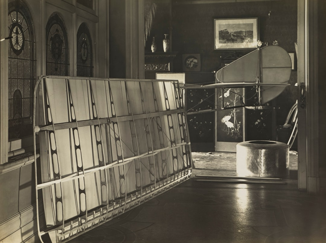 Partially Constructed Wing, Fuselage & Engine Cowling of Basil Watson's Biplane in the Family Home, Elsternwick, Victoria, 1916