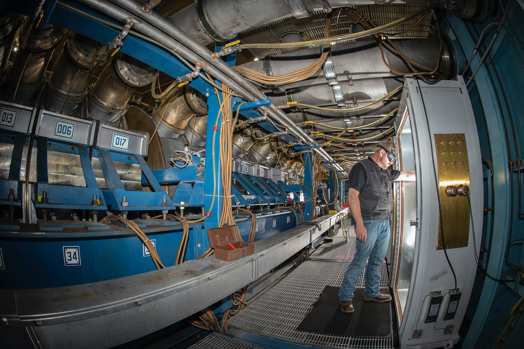Readying for a test beneath the world's largest gamma radiation simulator. Photographer Donica Payne