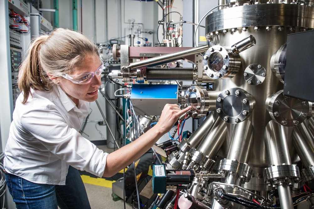 Scientist at Solar Energy Research Facility