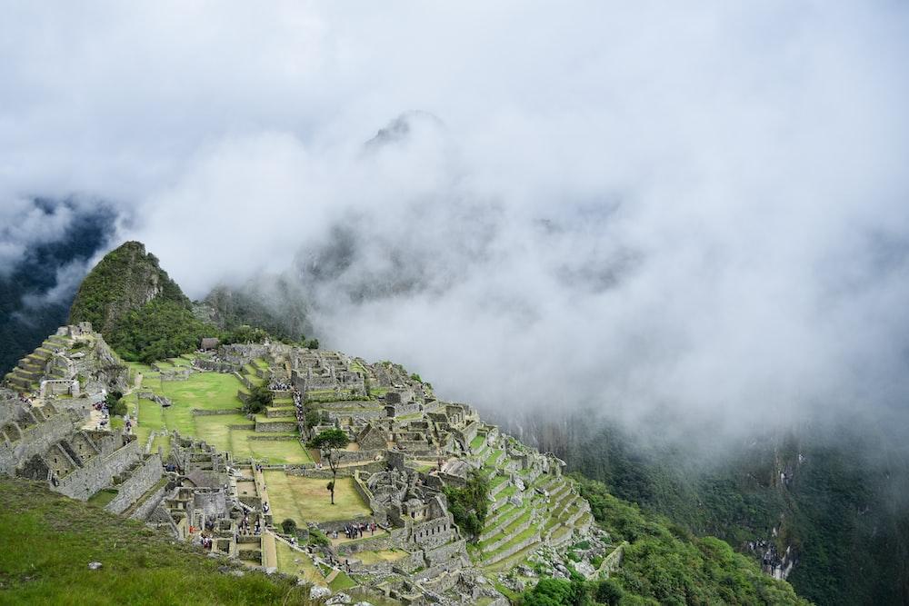 aerial photography of Macchu Pichu, peru