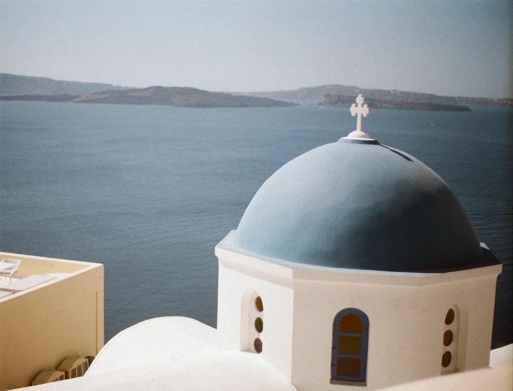 blue and white church of Santorini, Greece