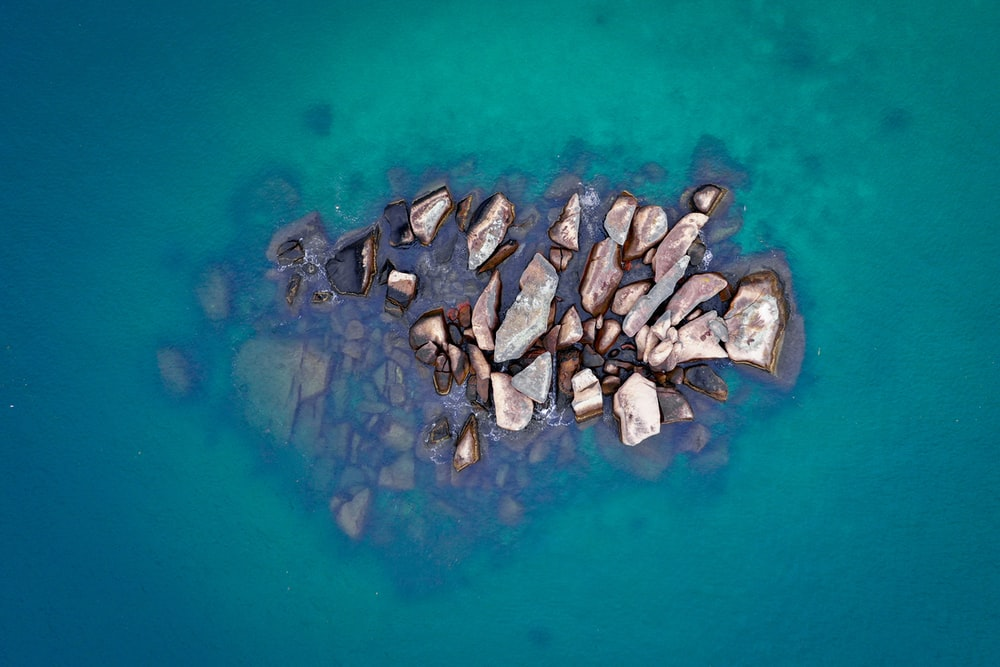 brown stones on the body of water photograph