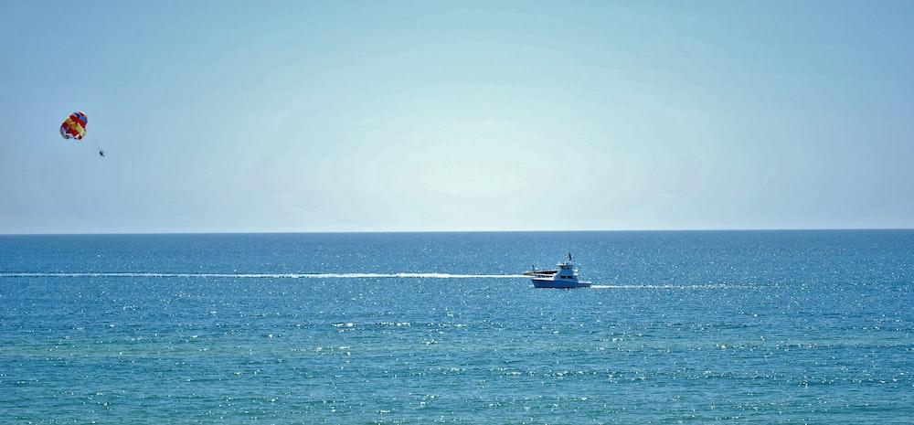 white boat on ocean