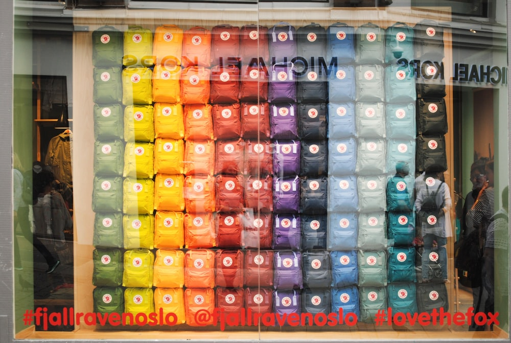 assorted-color packs through glass window