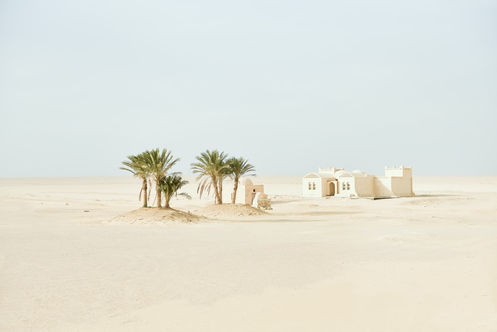 white concrete house on the dessert