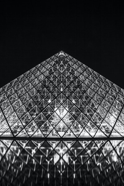 grayscale photography of Louvre Museum