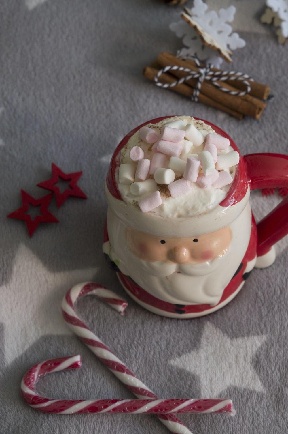 red and white Santa Claus ceramic mug