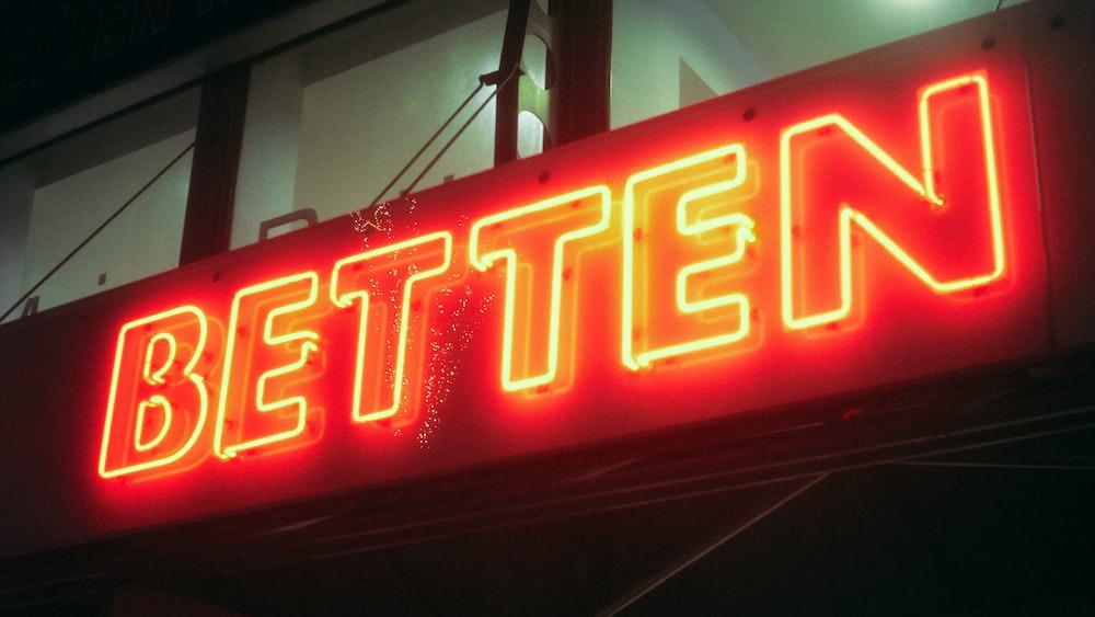 Betten neon sign at night