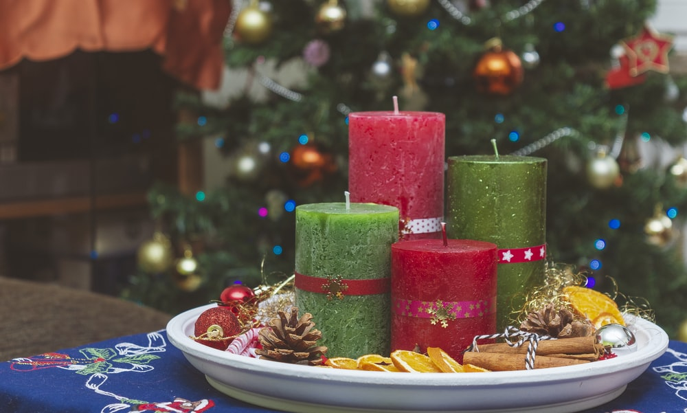 red and green pillar candles