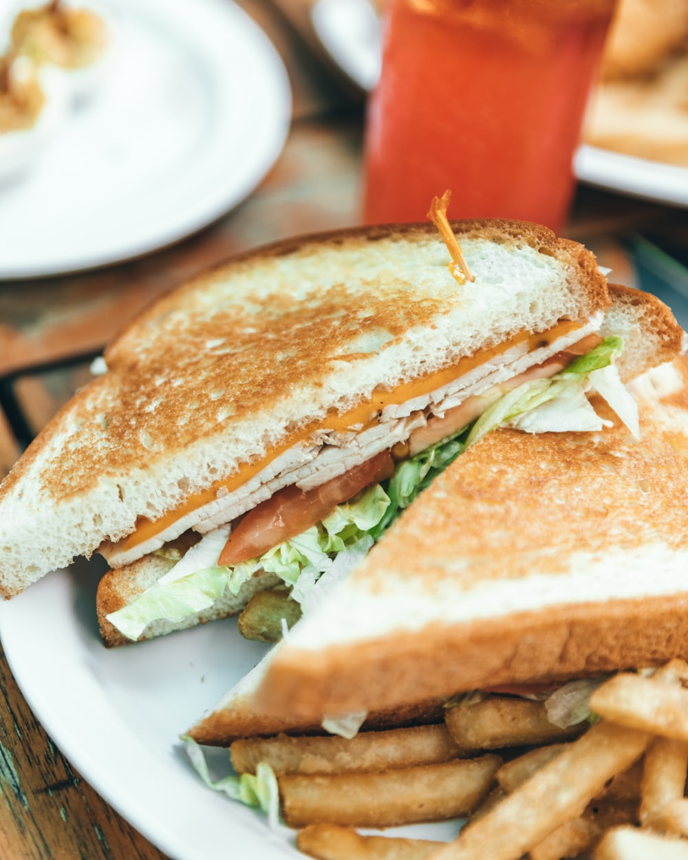 selective focus photo of toasted bread with coleslaw and fries on white plate