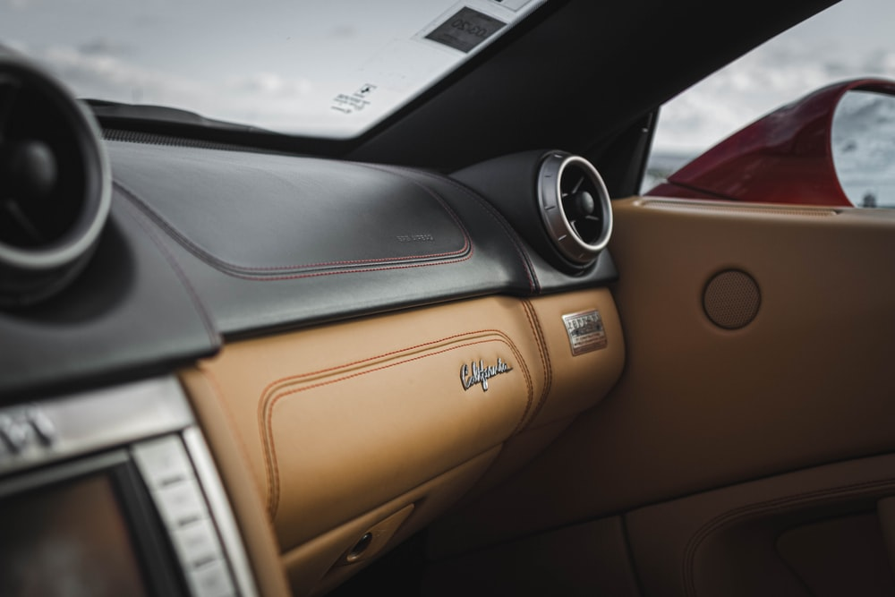 brown and black vehicle dashboard