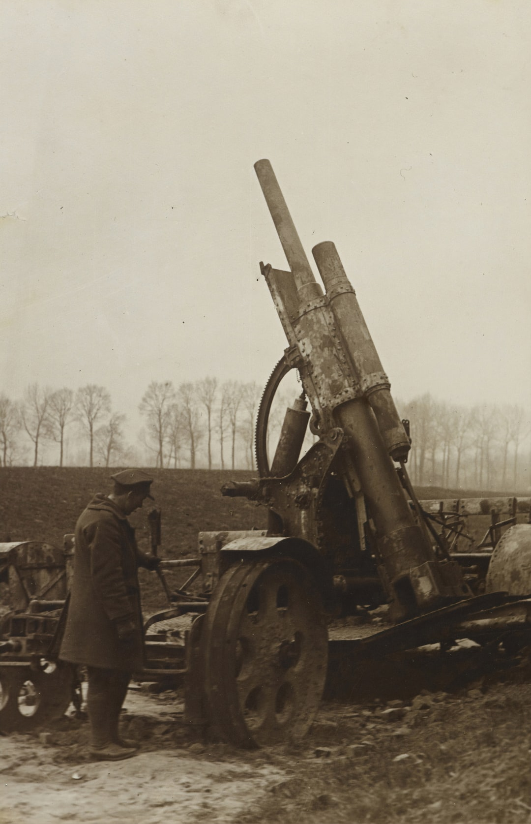 Anti-aircraft gun captured by troops from the defeated Germans. 1915.