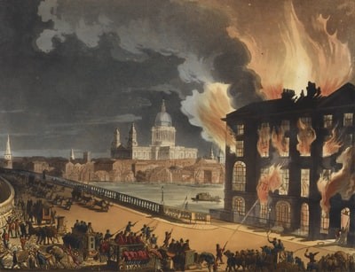 Fire in London . Circa 1812