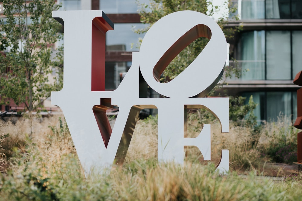 white Love freestanding letter