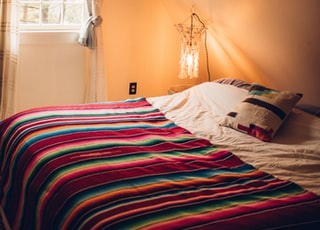 multicolored striped bed comforter