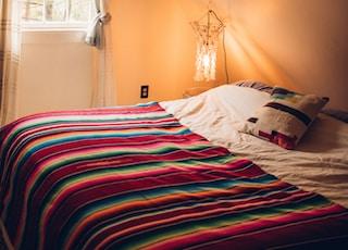 multicolored striped bed comforter