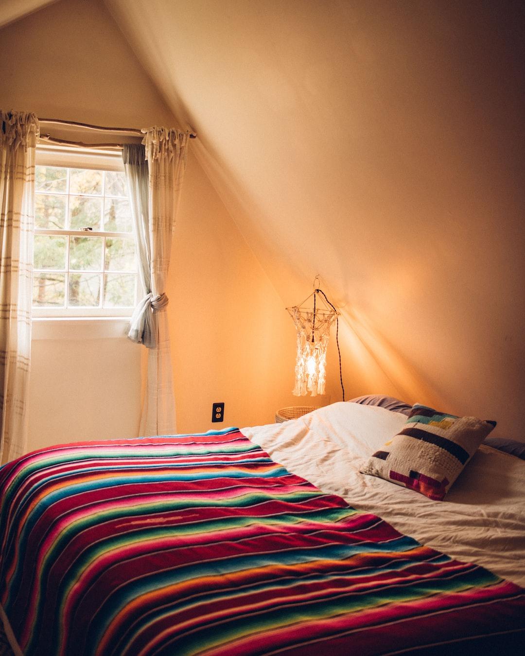 Cozy cabin bedroom.