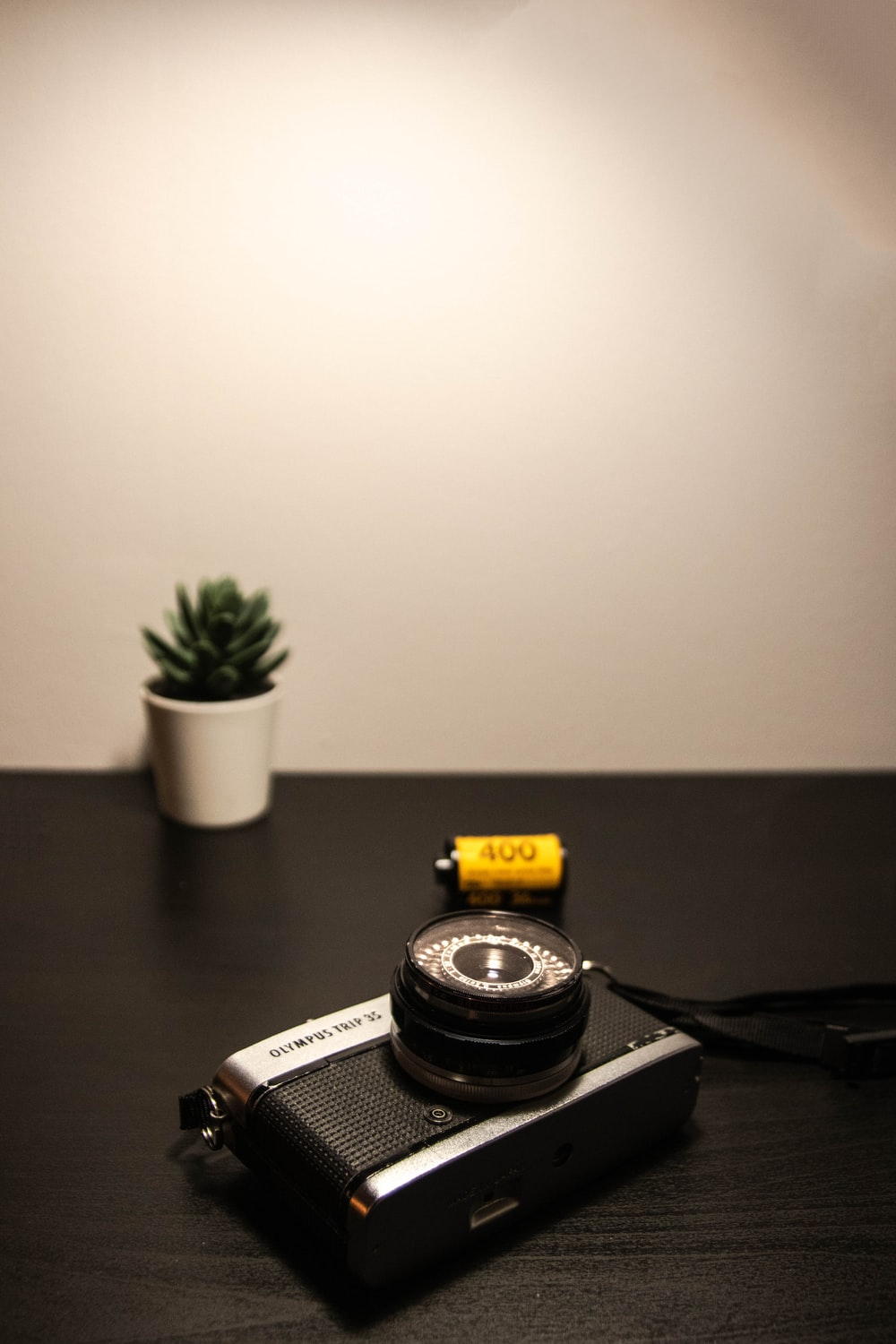 black camera on table