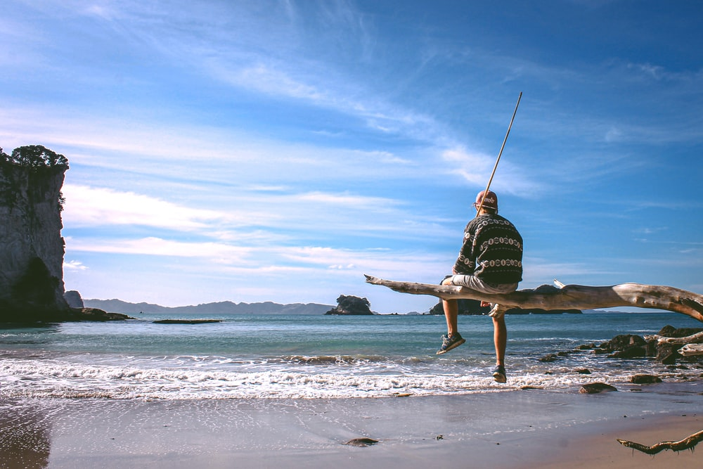 person sitting on driftwood near seashore during daytime