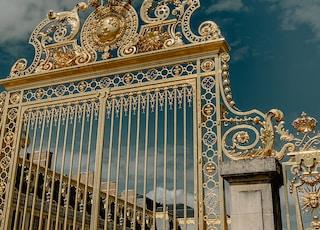 closed gold metal gate