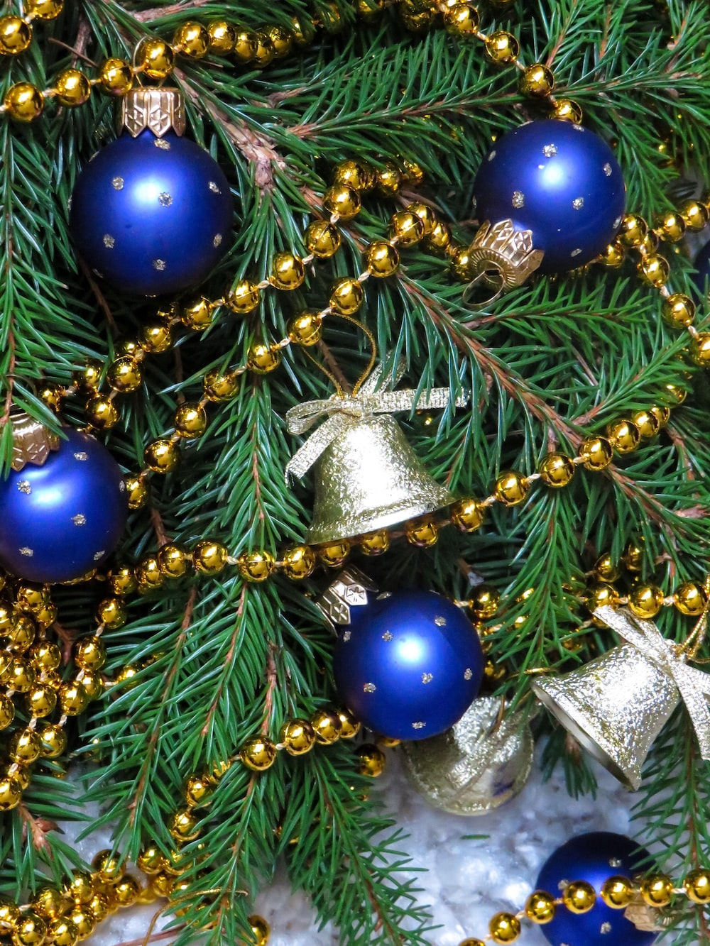 blue Christmas bauble balls photo