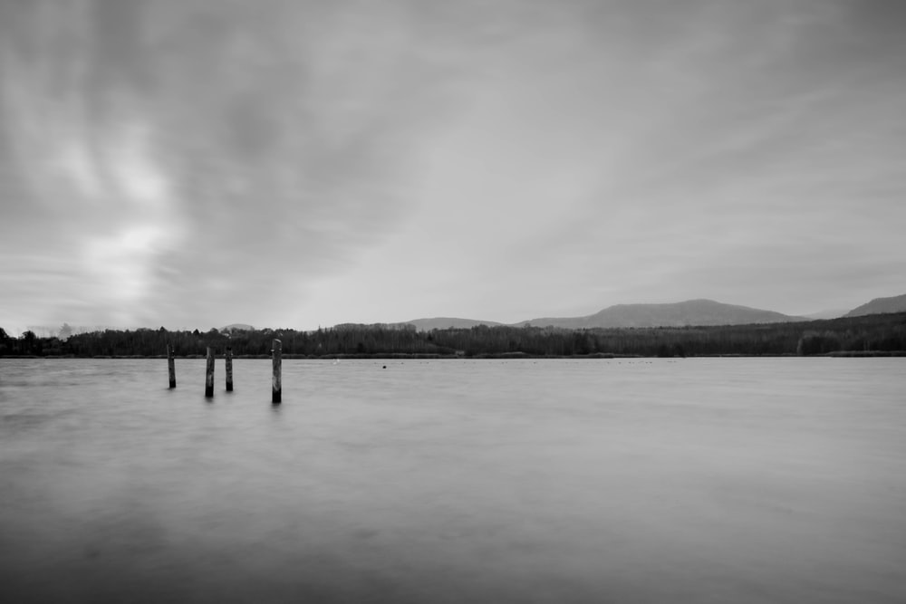 greyscale photo of body of water