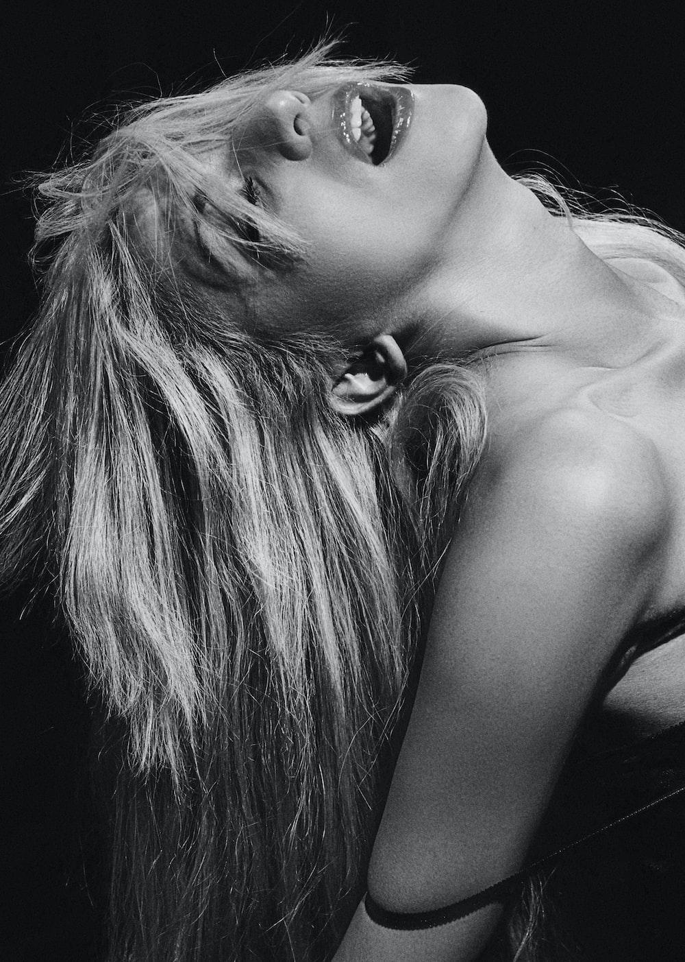 woman grayscale photo