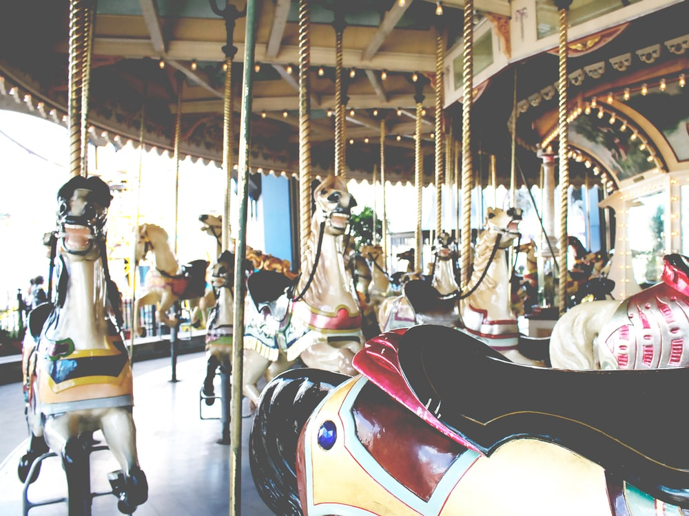 white and multicolored carousel