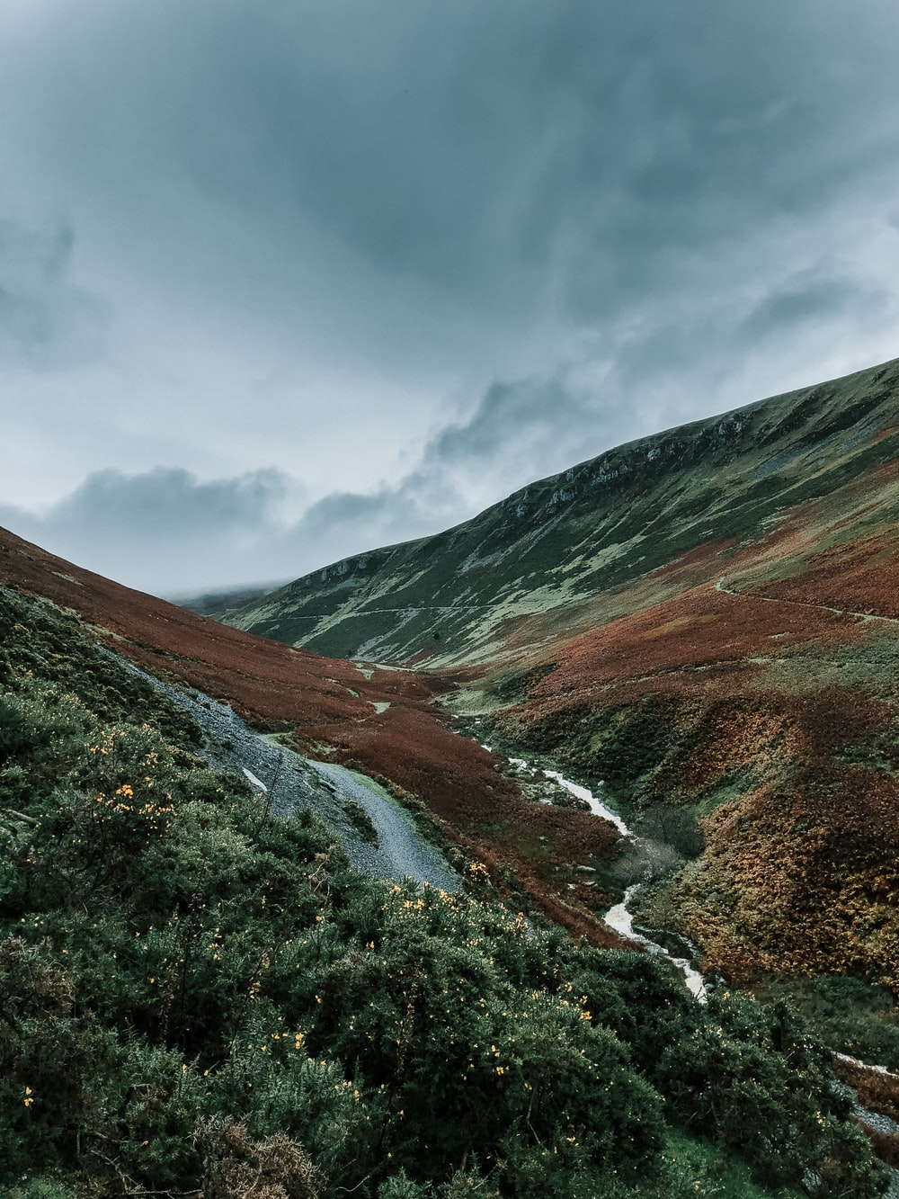 river between hills