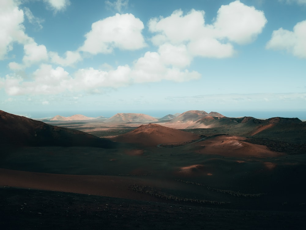 brown mountains and white clouds