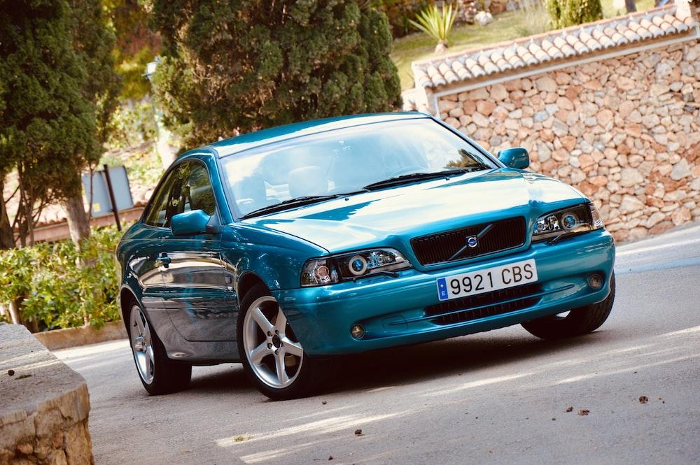 blue Volvo sedan