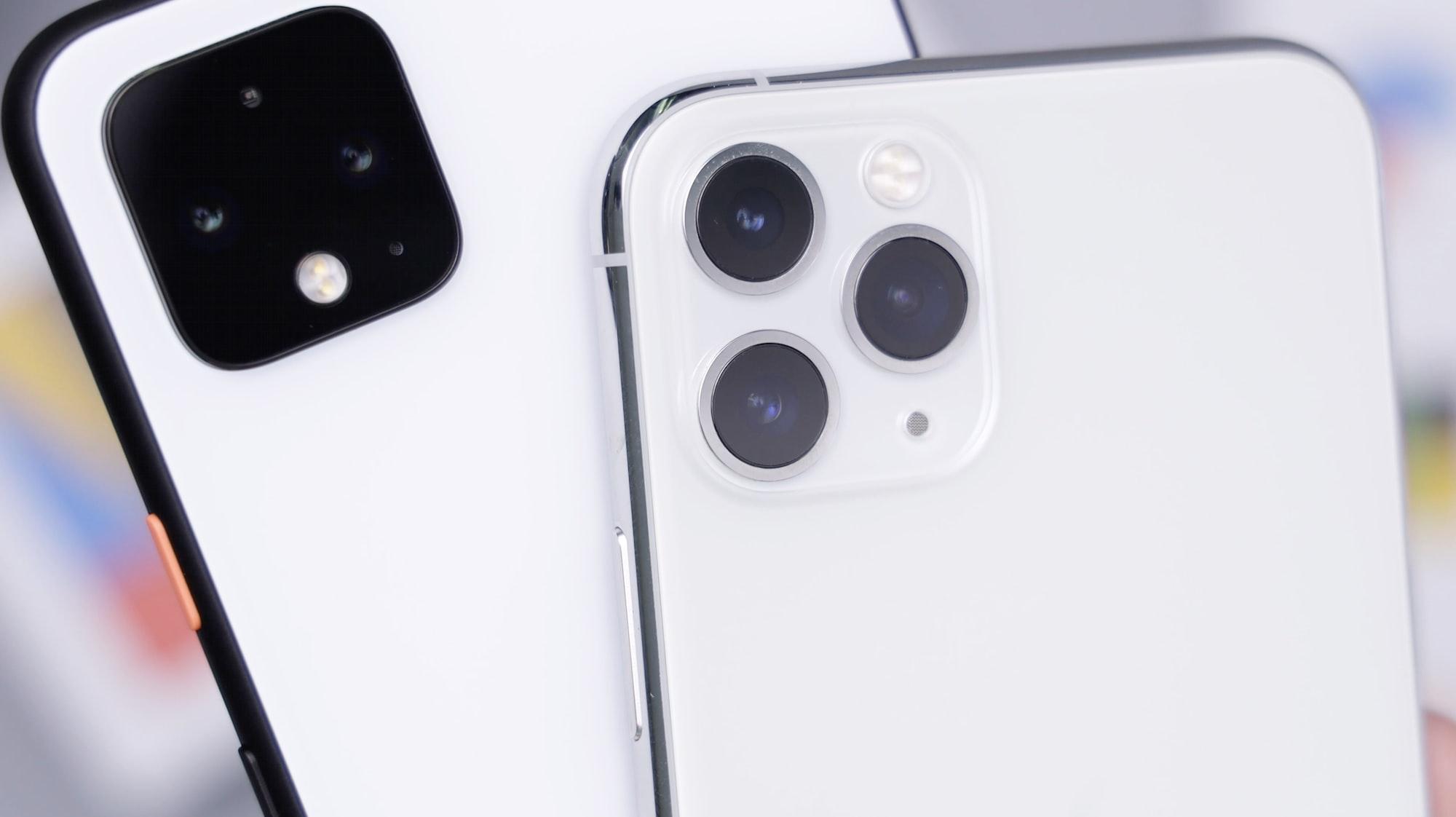 White Pixel4XL & Silver iPhone 11 Pro