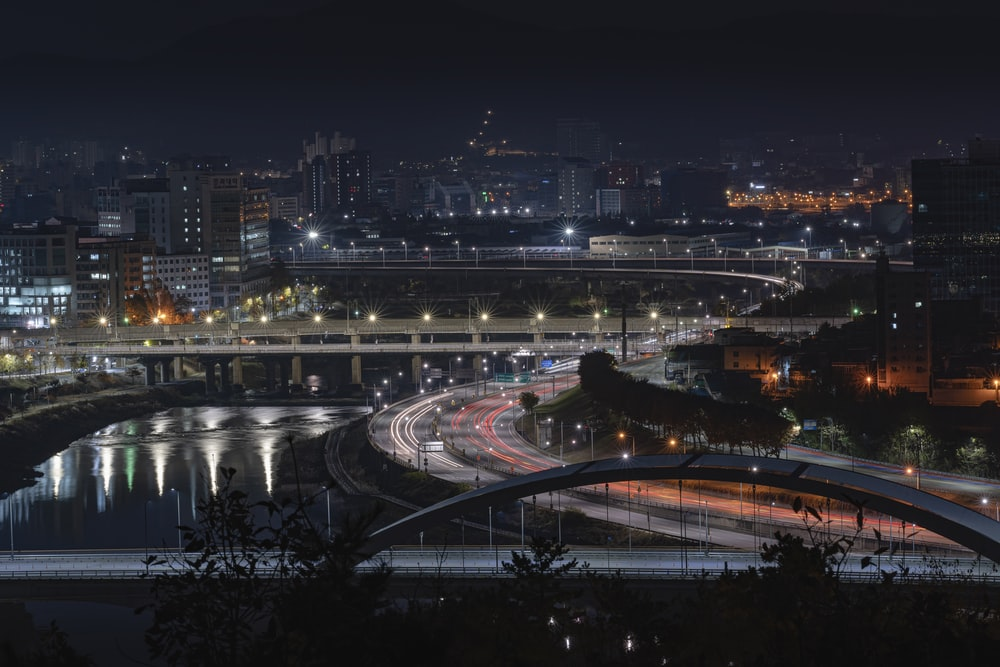 aerial photography of bridge during nighttime