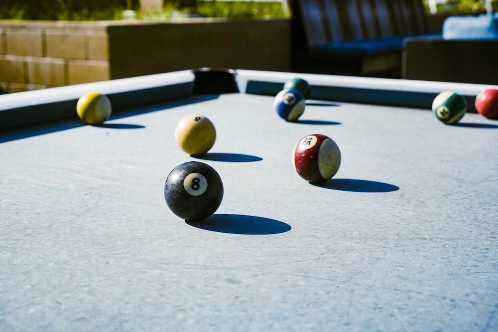 assorted-color billiard balls